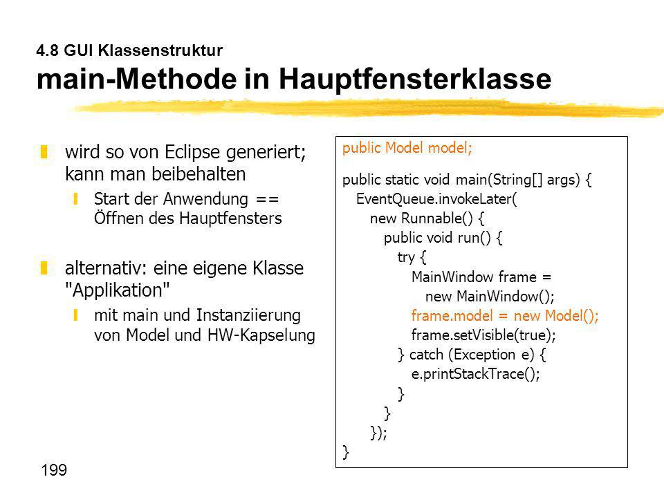4.8 GUI Klassenstruktur main-Methode in Hauptfensterklasse