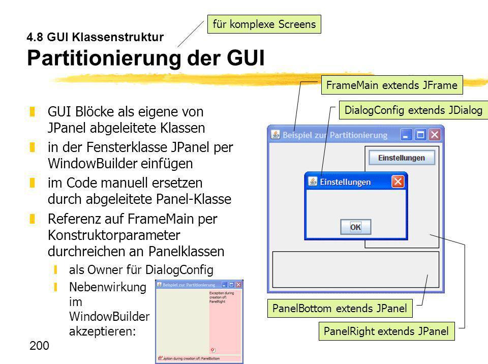 4.8 GUI Klassenstruktur Partitionierung der GUI