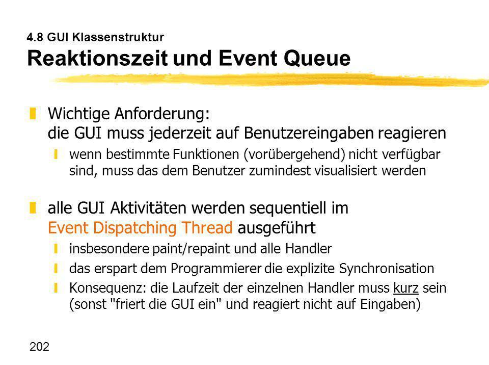 4.8 GUI Klassenstruktur Reaktionszeit und Event Queue
