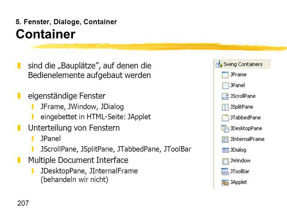 5. Fenster, Dialoge, Container Container