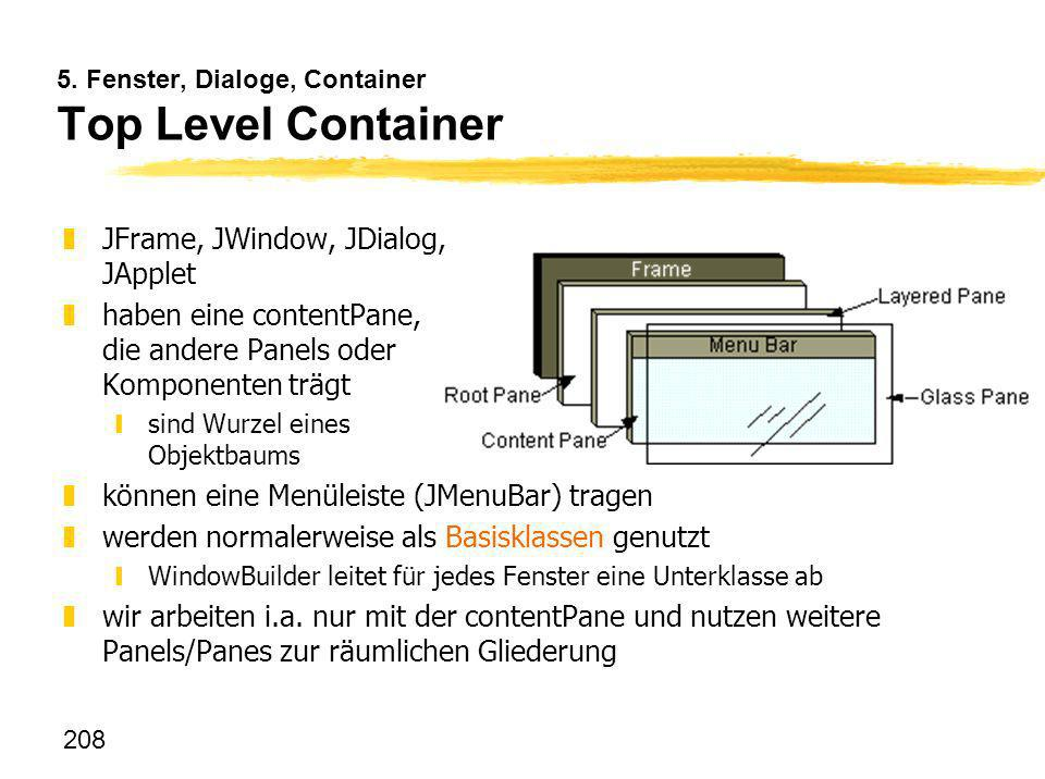 5. Fenster, Dialoge, Container Top Level Container