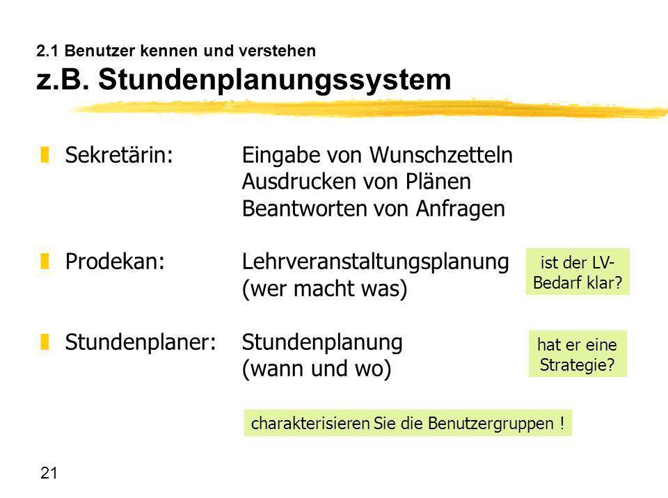 2.1 Benutzer kennen und verstehen z.B. Stundenplanungssystem