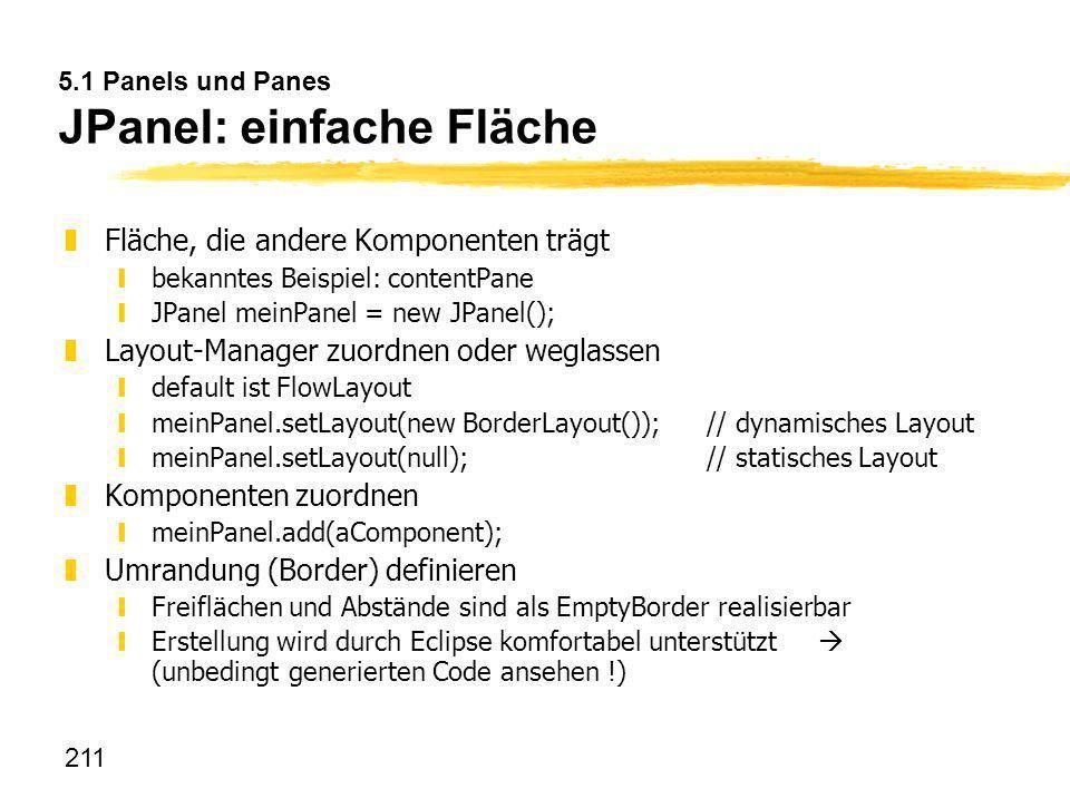 5.1 Panels und Panes JPanel: einfache Fläche