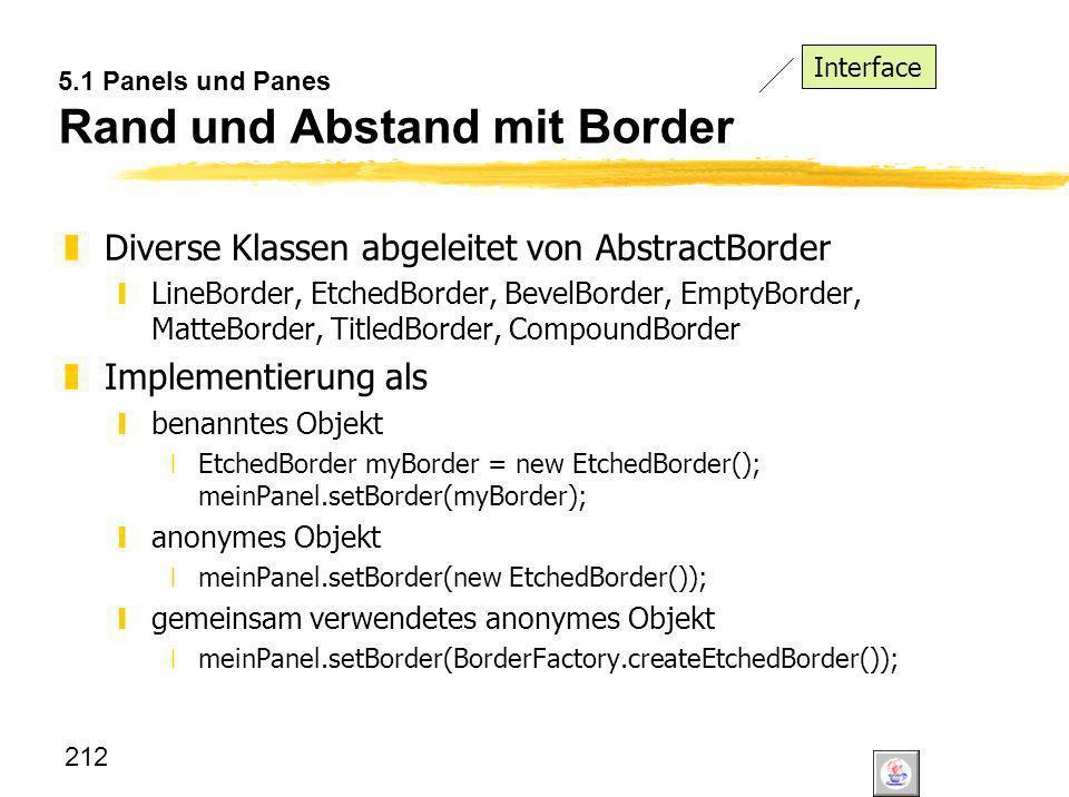 5.1 Panels und Panes Rand und Abstand mit Border