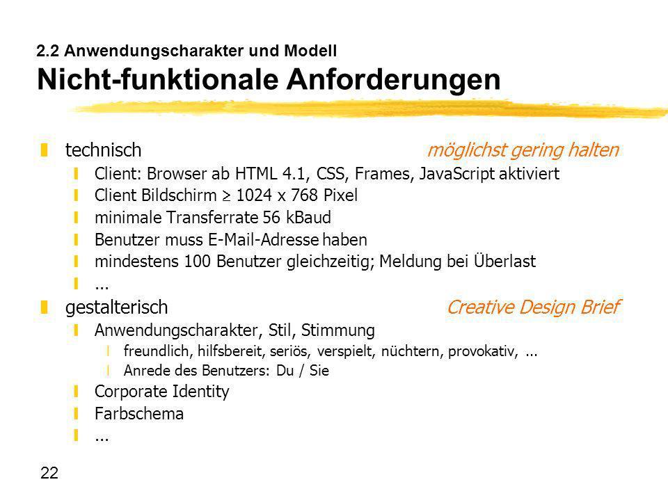 2.2 Anwendungscharakter und Modell Nicht-funktionale Anforderungen