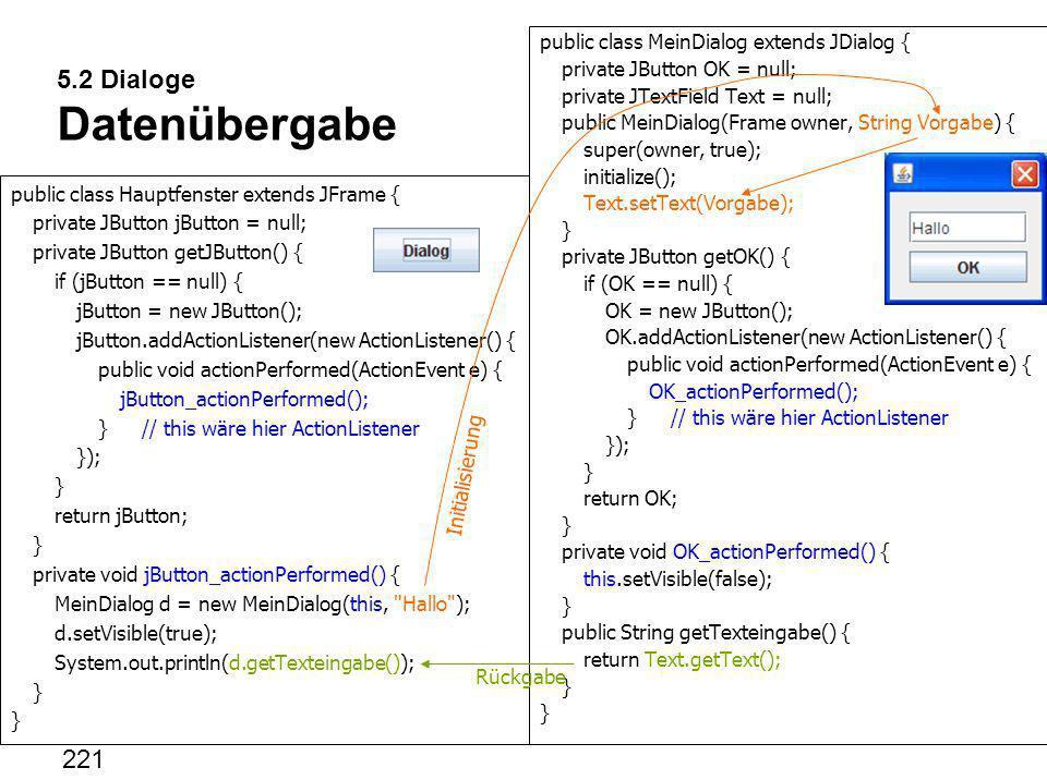 5.2 Dialoge Datenübergabe