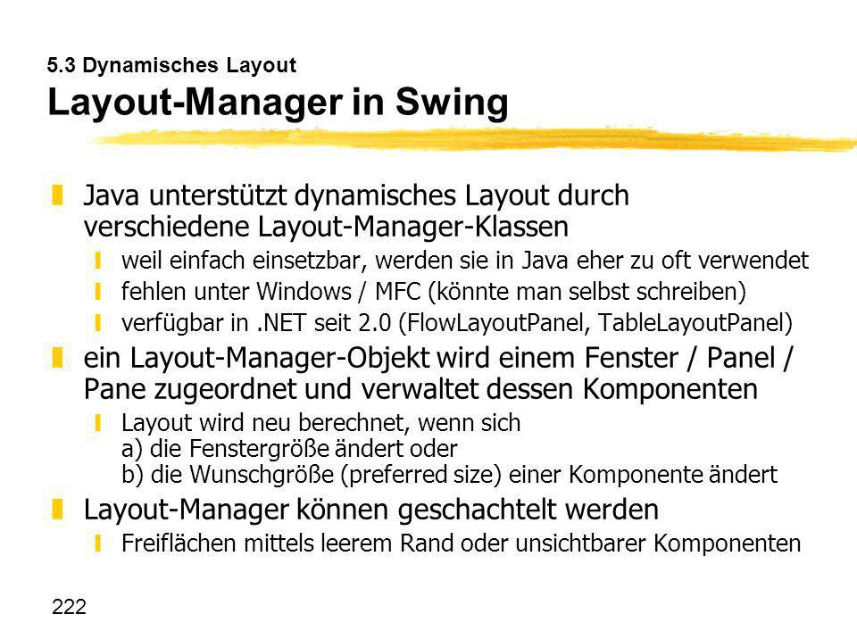 5.3 Dynamisches Layout Layout-Manager in Swing