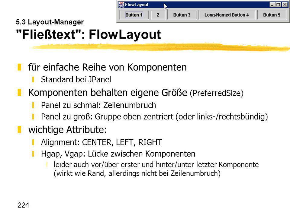 5.3 Layout-Manager Fließtext : FlowLayout