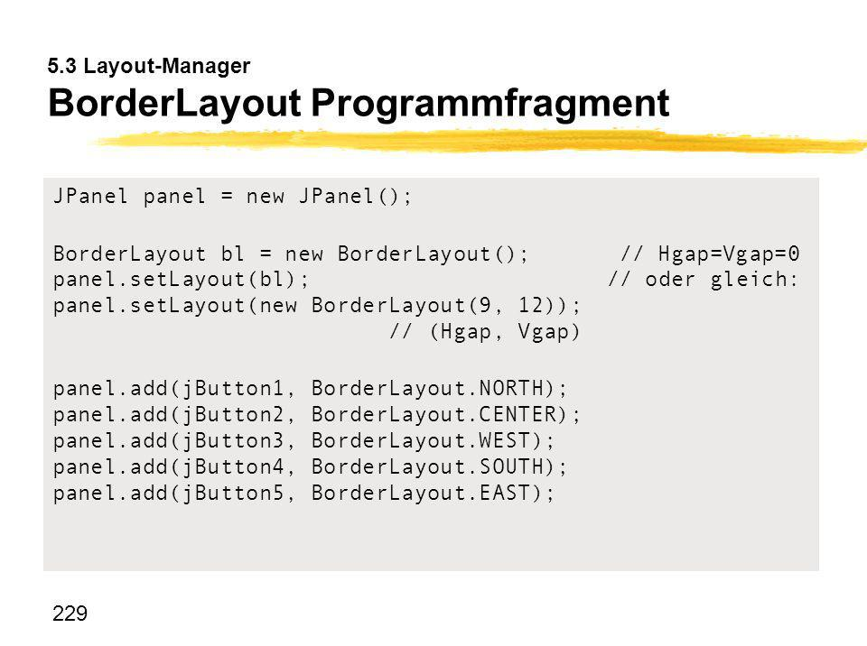 5.3 Layout-Manager BorderLayout Programmfragment