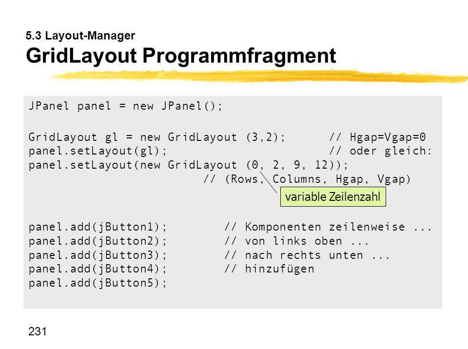 5.3 Layout-Manager GridLayout Programmfragment