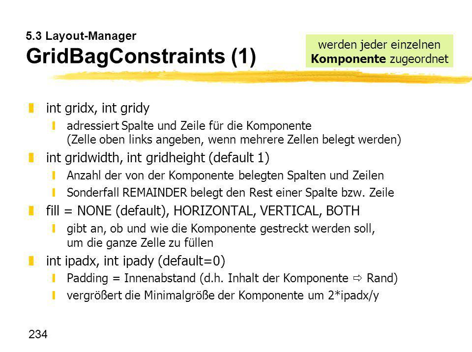 5.3 Layout-Manager GridBagConstraints (1)
