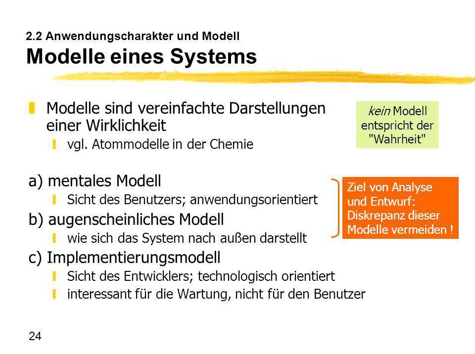 2.2 Anwendungscharakter und Modell Modelle eines Systems