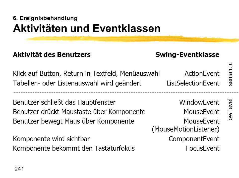 6. Ereignisbehandlung Aktivitäten und Eventklassen