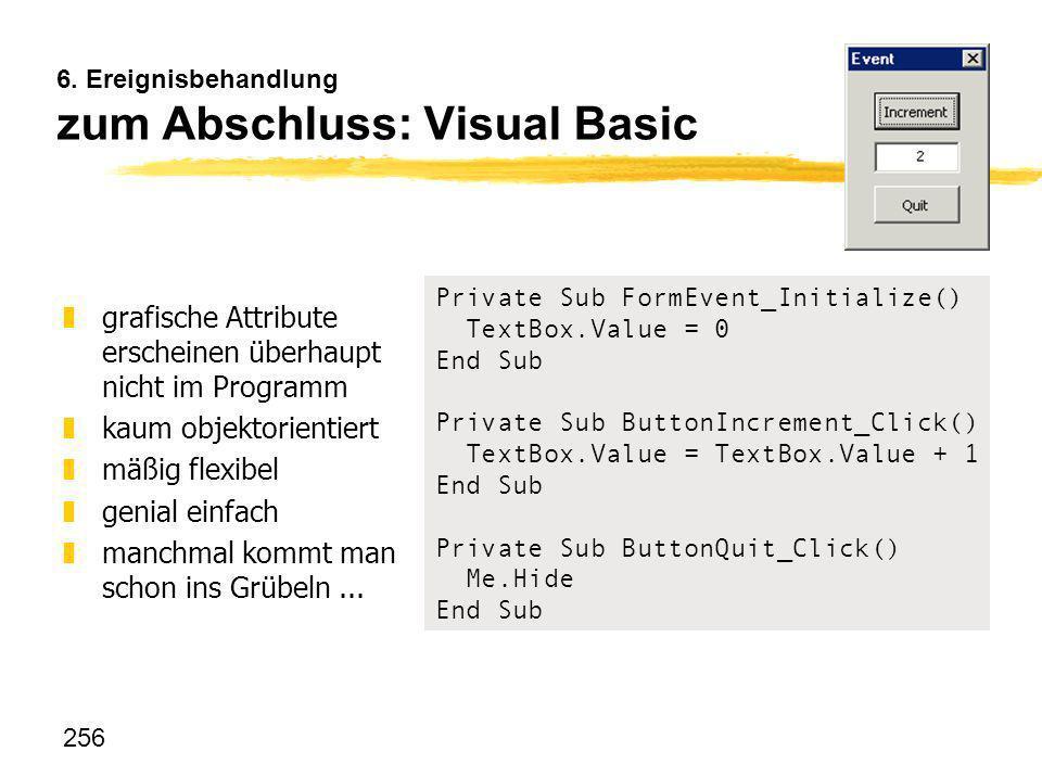 6. Ereignisbehandlung zum Abschluss: Visual Basic