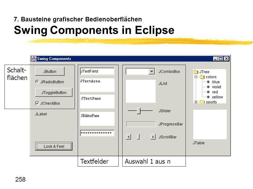 7. Bausteine grafischer Bedienoberflächen Swing Components in Eclipse