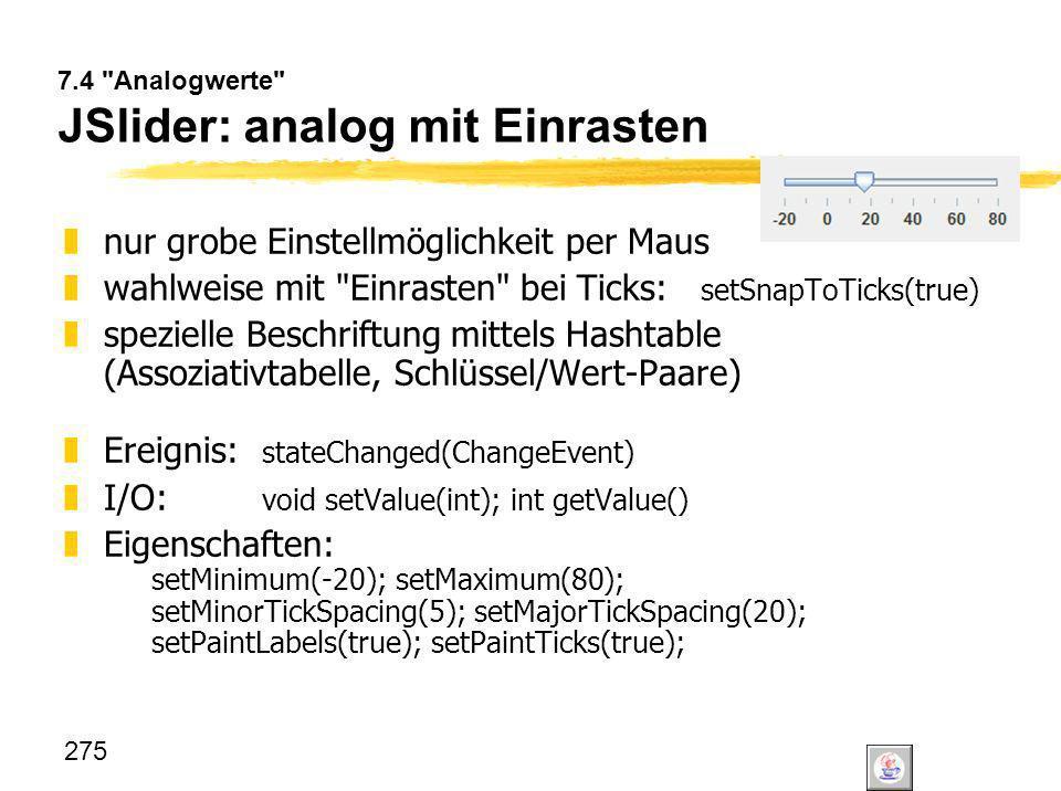 7.4 Analogwerte JSlider: analog mit Einrasten