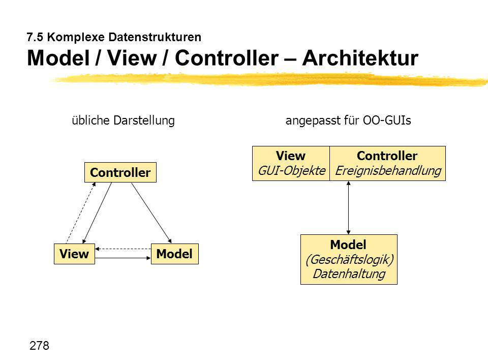 7.5 Komplexe Datenstrukturen Model / View / Controller – Architektur