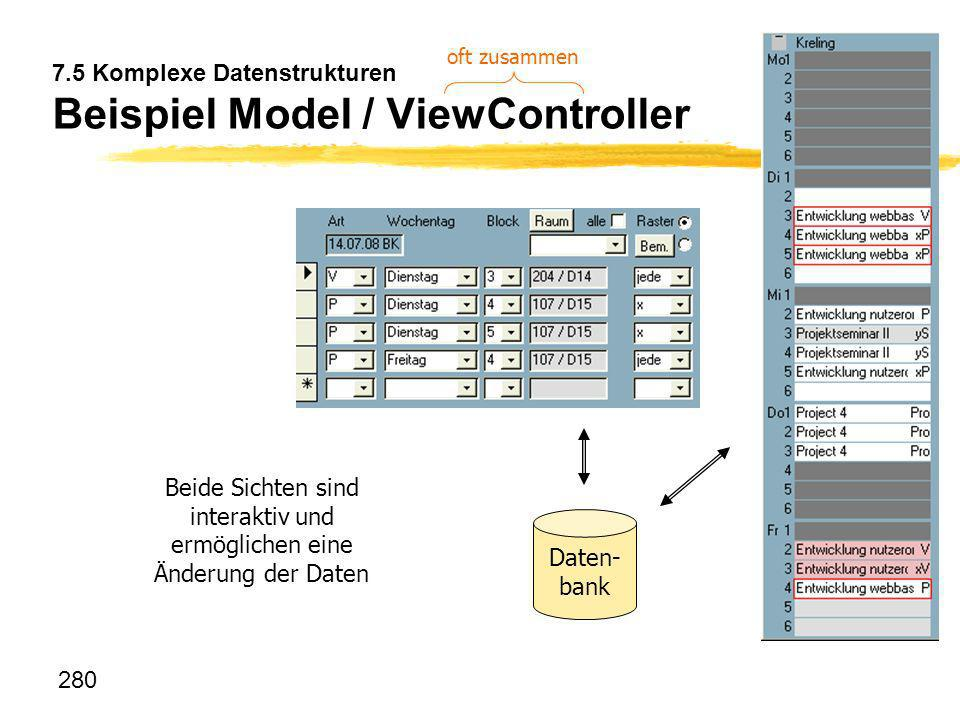 7.5 Komplexe Datenstrukturen Beispiel Model / ViewController