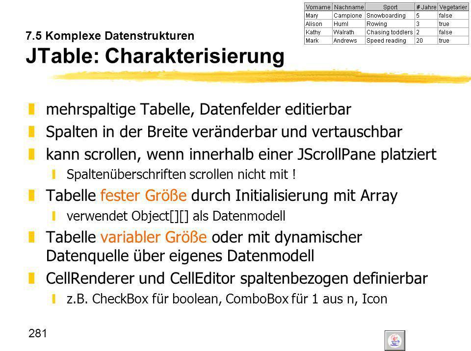 7.5 Komplexe Datenstrukturen JTable: Charakterisierung