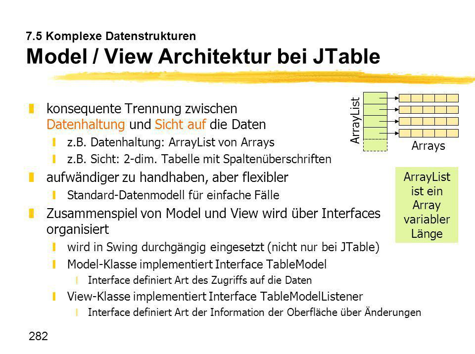 7.5 Komplexe Datenstrukturen Model / View Architektur bei JTable
