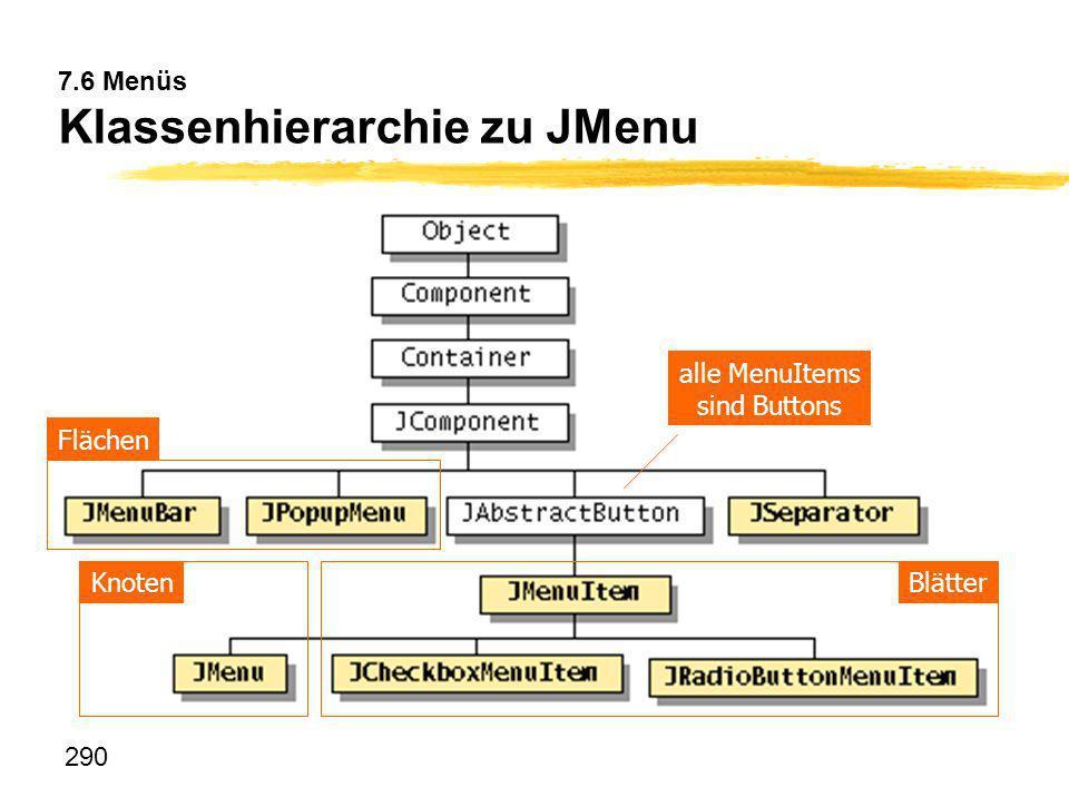 7.6 Menüs Klassenhierarchie zu JMenu