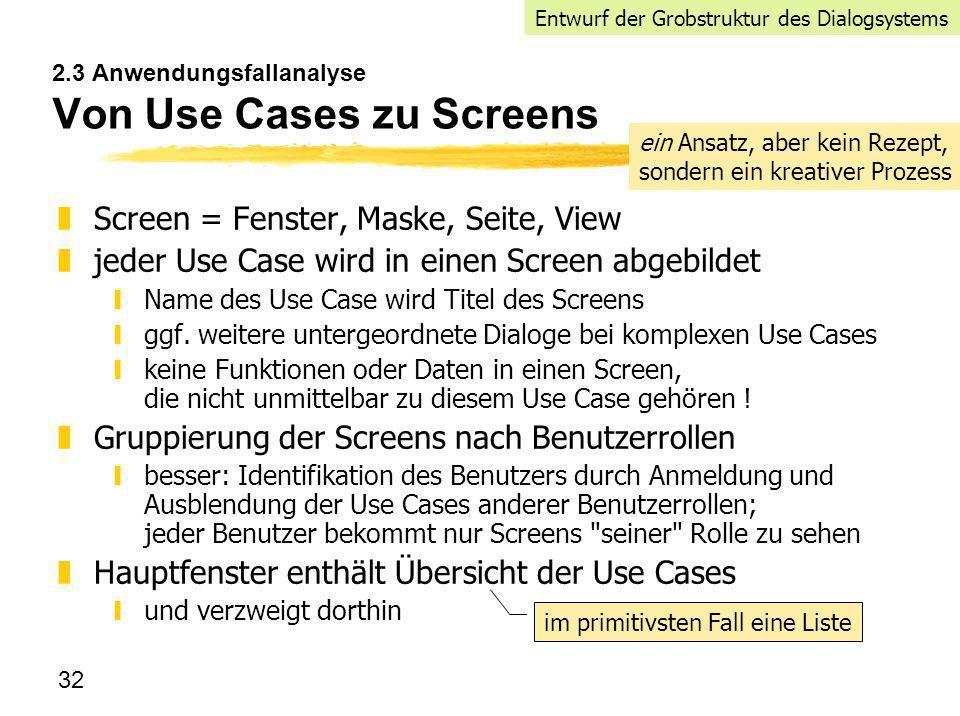 2.3 Anwendungsfallanalyse Von Use Cases zu Screens