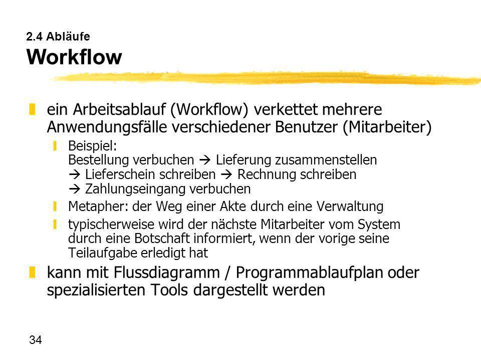 2.4 Abläufe Workflow ein Arbeitsablauf (Workflow) verkettet mehrere Anwendungsfälle verschiedener Benutzer (Mitarbeiter)