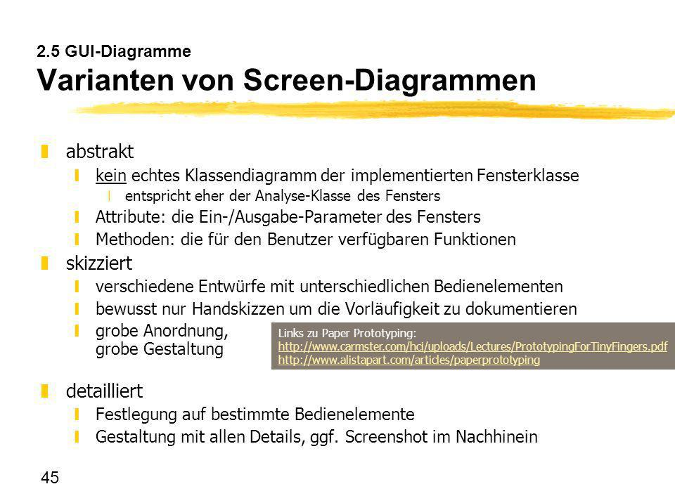 2.5 GUI-Diagramme Varianten von Screen-Diagrammen