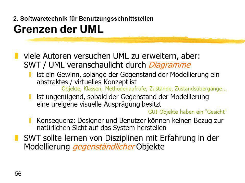 2. Softwaretechnik für Benutzungsschnittstellen Grenzen der UML