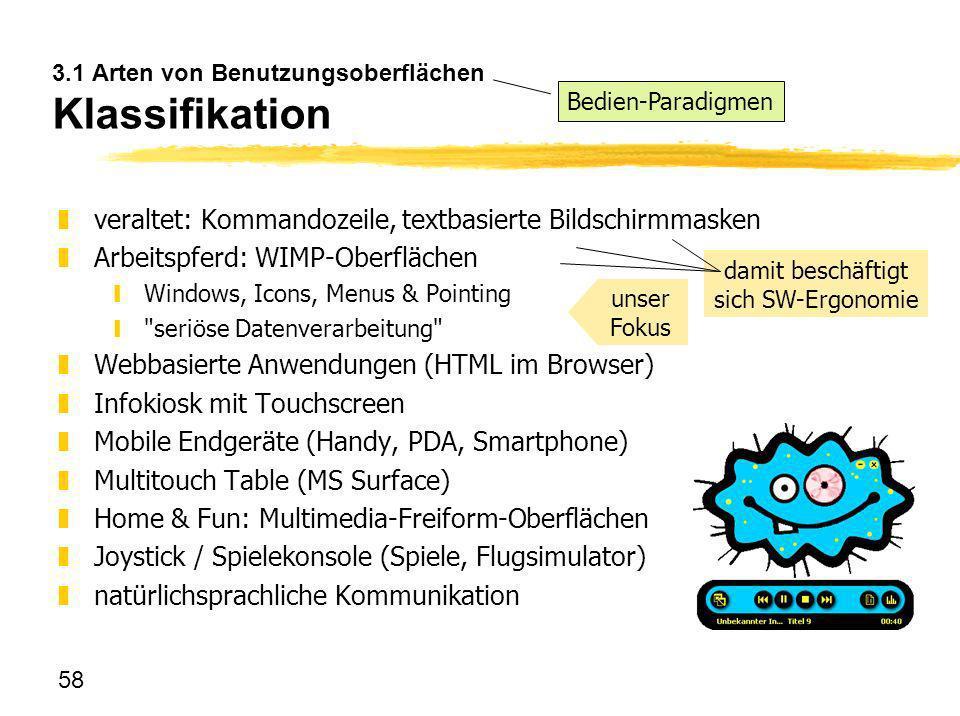 3.1 Arten von Benutzungsoberflächen Klassifikation