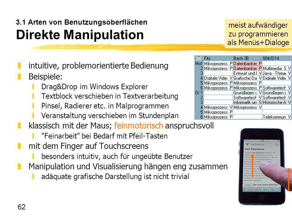 3.1 Arten von Benutzungsoberflächen Direkte Manipulation