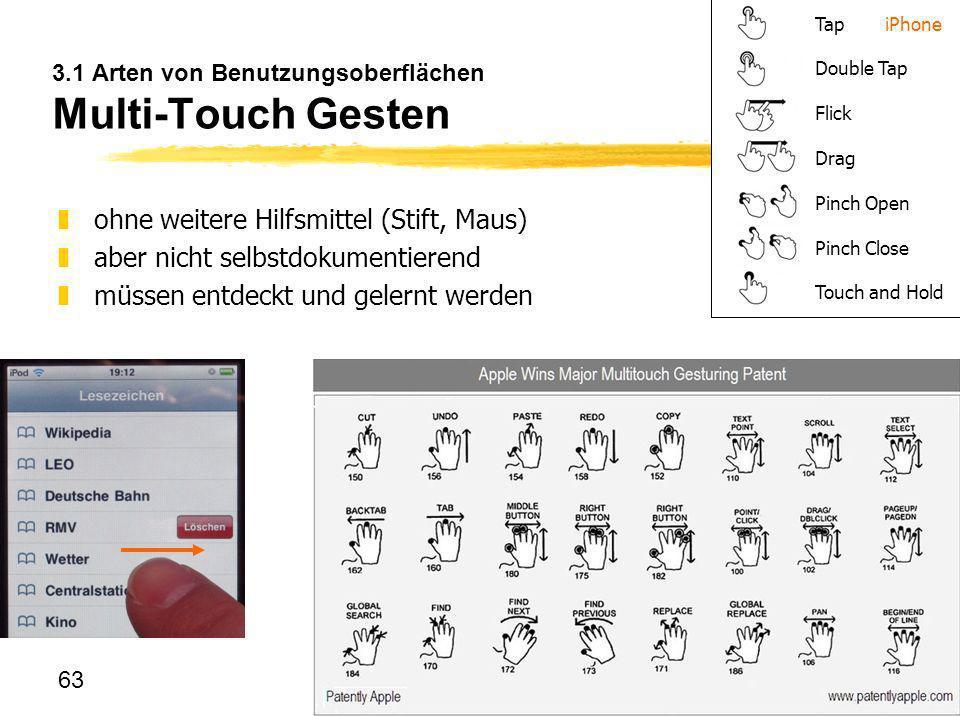 3.1 Arten von Benutzungsoberflächen Multi-Touch Gesten