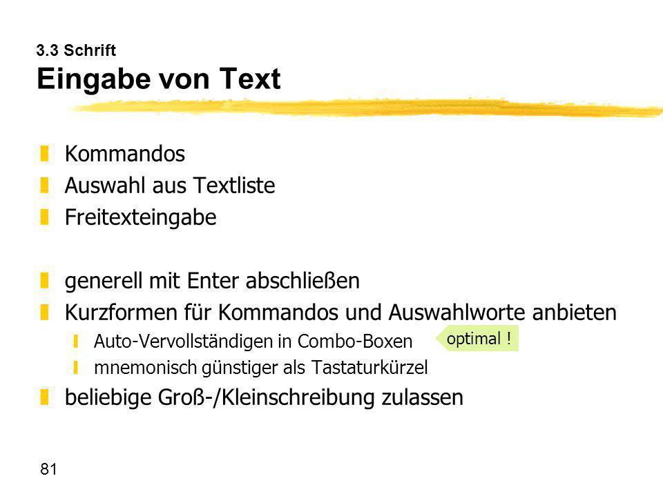 3.3 Schrift Eingabe von Text