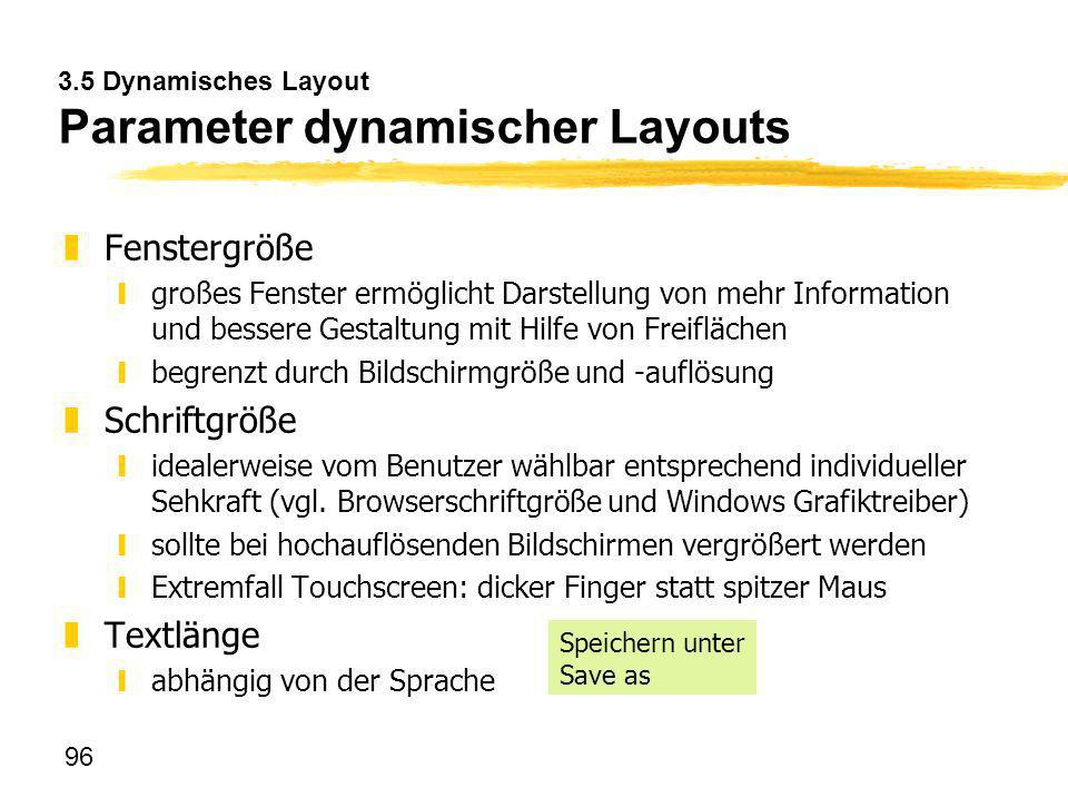 3.5 Dynamisches Layout Parameter dynamischer Layouts
