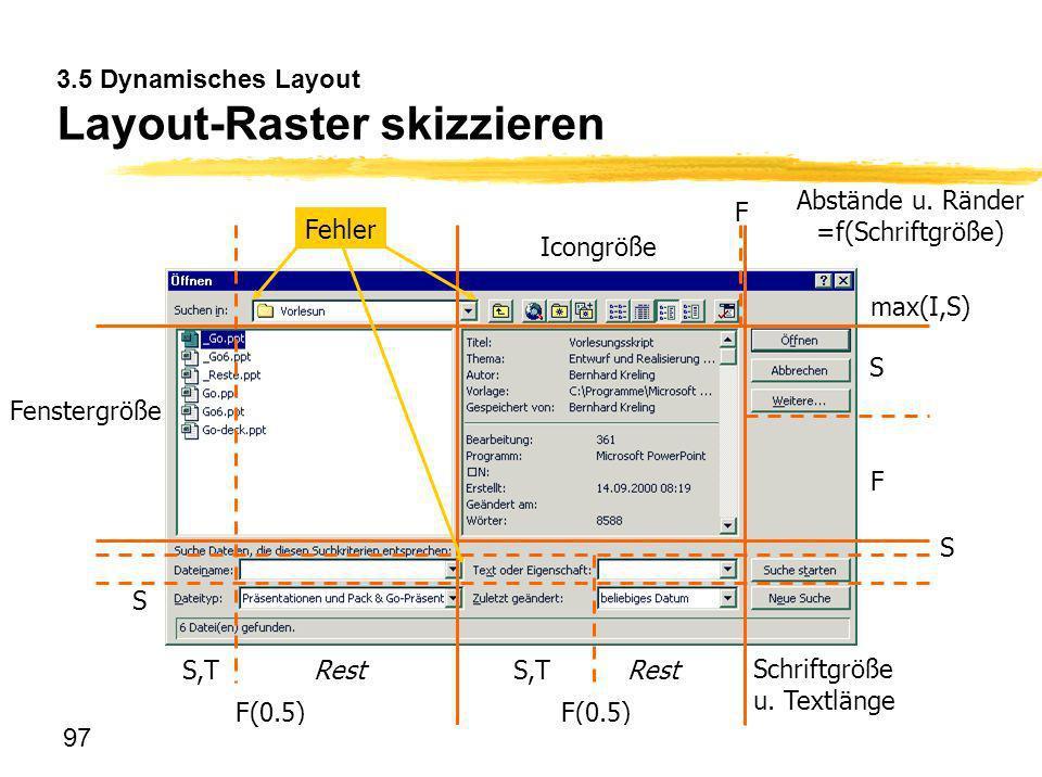 3.5 Dynamisches Layout Layout-Raster skizzieren