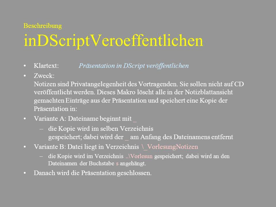 Beschreibung inDScriptVeroeffentlichen
