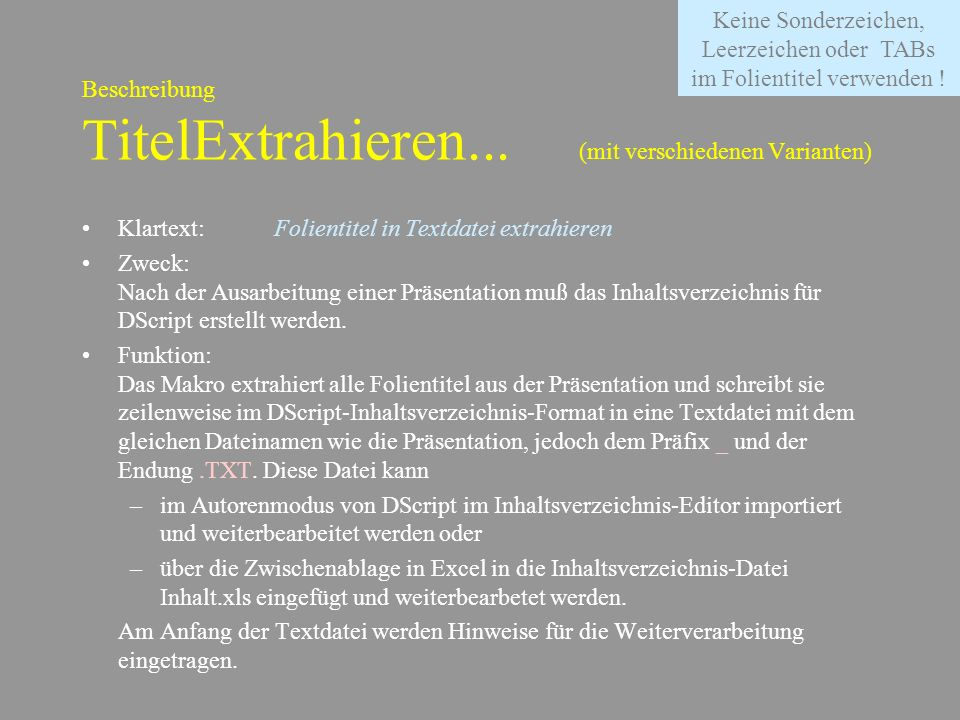 Beschreibung TitelExtrahieren... (mit verschiedenen Varianten)