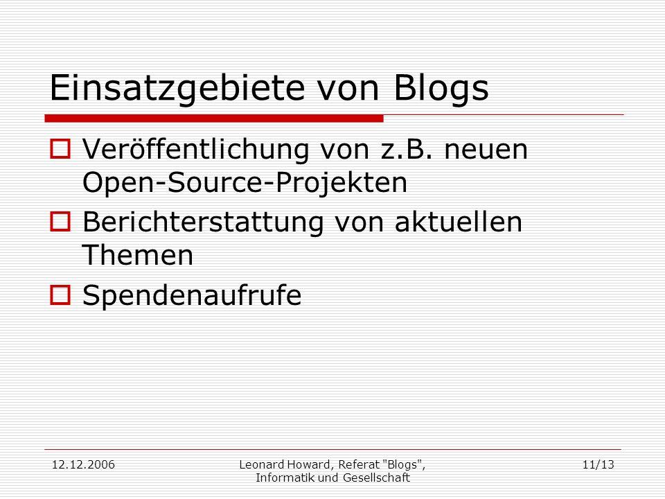 Einsatzgebiete von Blogs