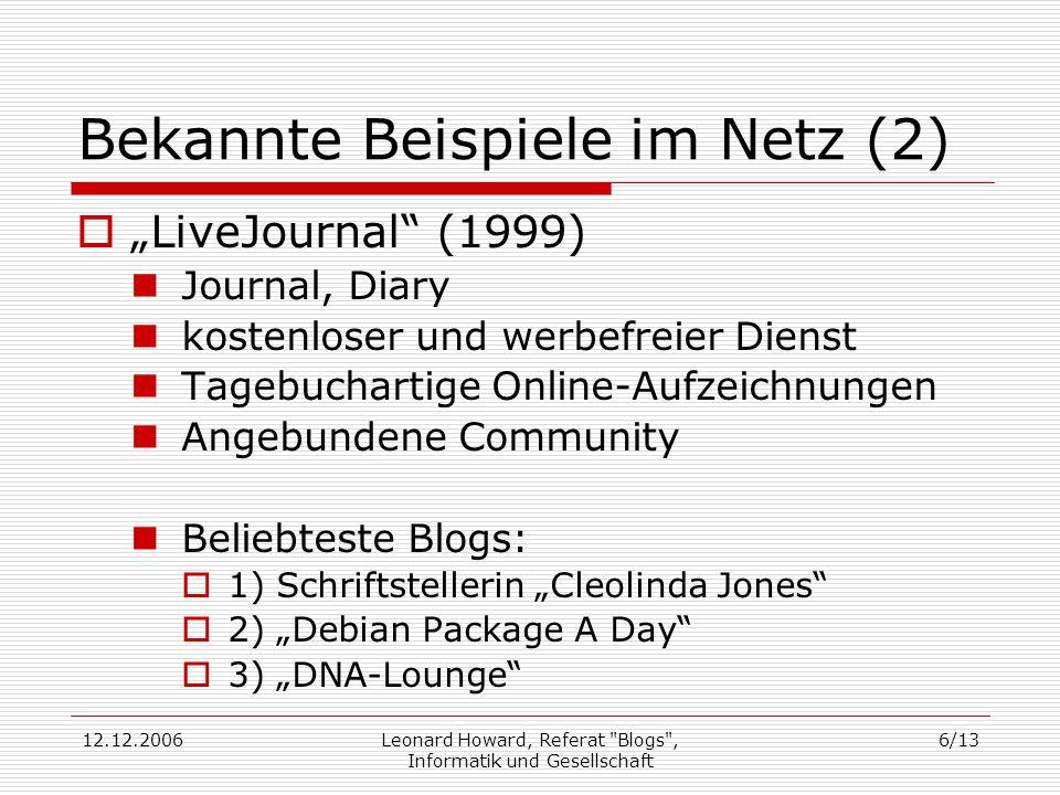 Bekannte Beispiele im Netz (2)