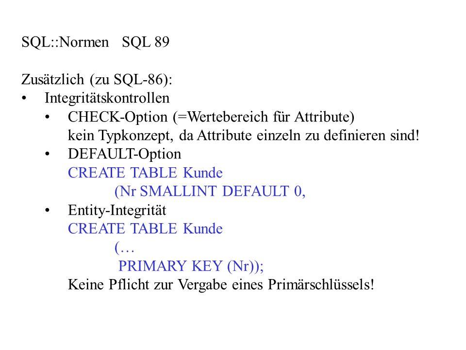SQL::Normen SQL 89 Zusätzlich (zu SQL-86): Integritätskontrollen. CHECK-Option (=Wertebereich für Attribute)