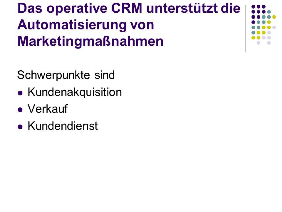 Das operative CRM unterstützt die Automatisierung von Marketingmaßnahmen