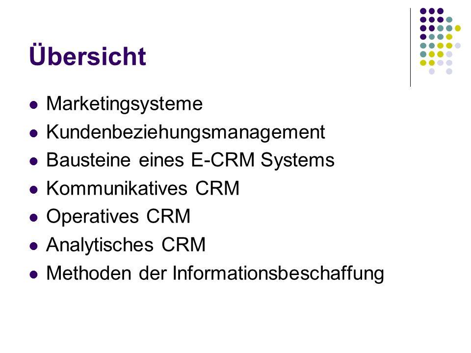 Übersicht Marketingsysteme Kundenbeziehungsmanagement
