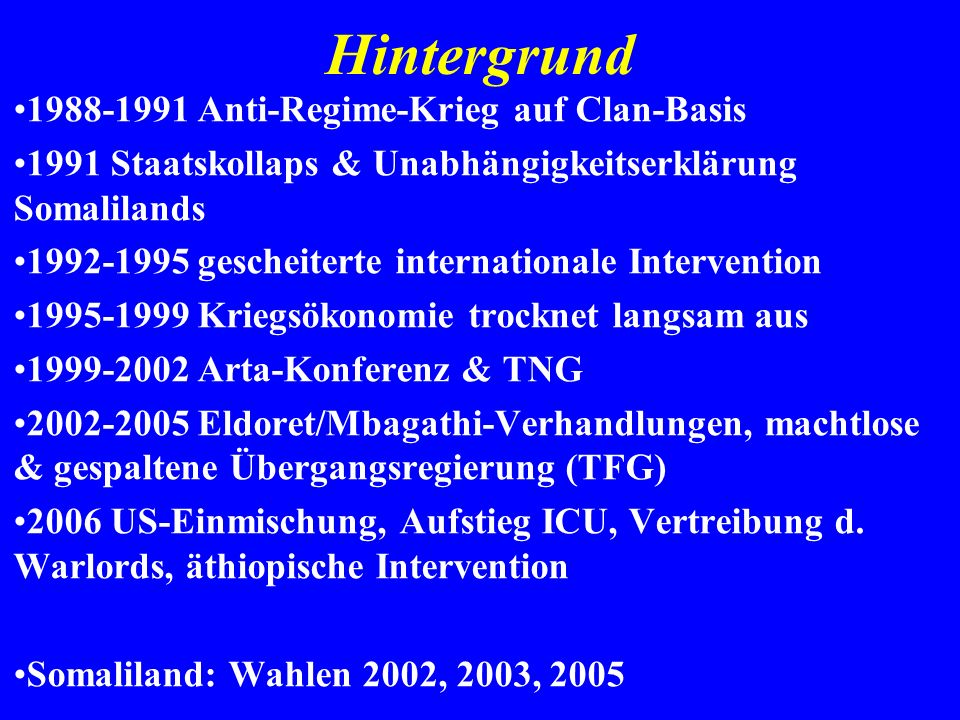 Hintergrund 1988-1991 Anti-Regime-Krieg auf Clan-Basis