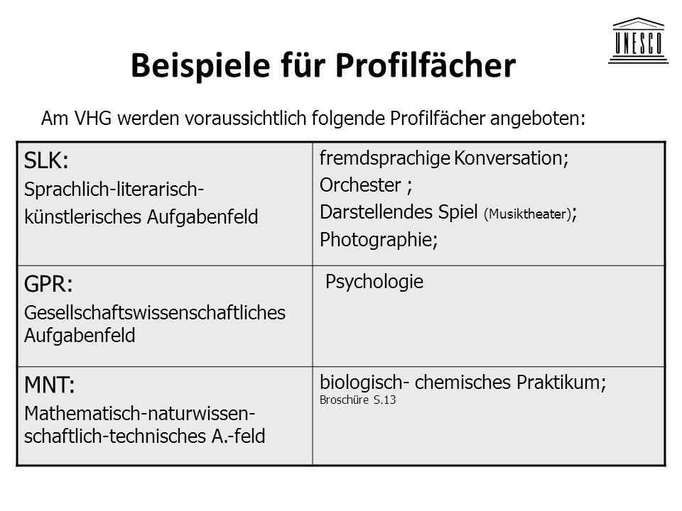 Beispiele für Profilfächer