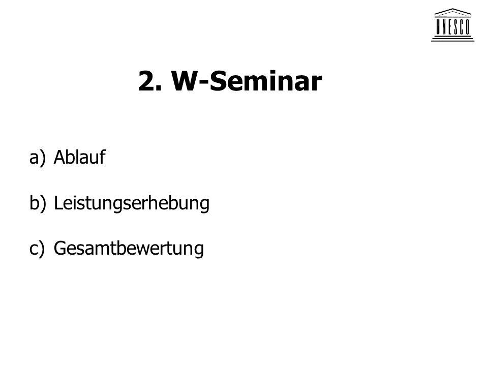 2. W-Seminar Ablauf Leistungserhebung Gesamtbewertung