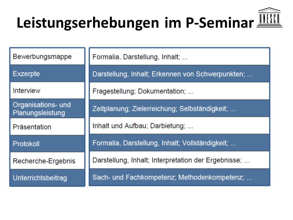 Leistungserhebungen im P-Seminar