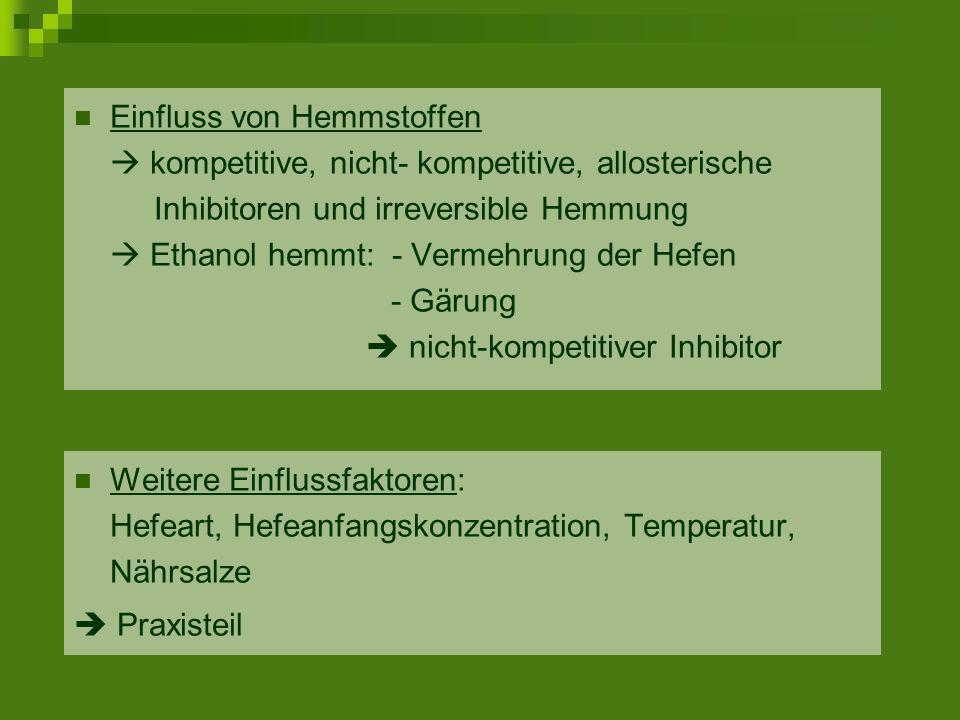 Einfluss von Hemmstoffen  kompetitive, nicht- kompetitive, allosterische Inhibitoren und irreversible Hemmung  Ethanol hemmt: - Vermehrung der Hefen - Gärung  nicht-kompetitiver Inhibitor