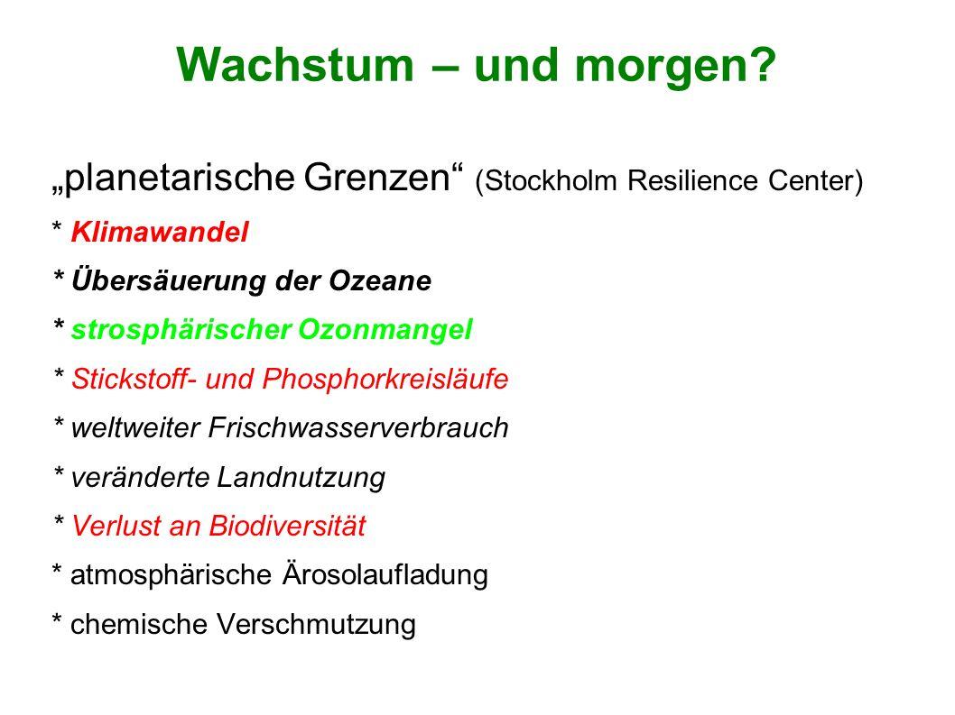 """Wachstum – und morgen """"planetarische Grenzen (Stockholm Resilience Center) * Klimawandel. * Übersäuerung der Ozeane."""