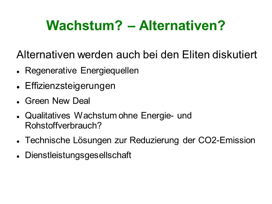 Wachstum – Alternativen
