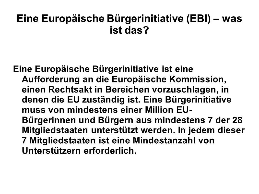 Eine Europäische Bürgerinitiative (EBI) – was ist das